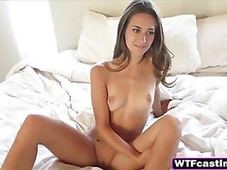 Skinny Brunette Teen Playing With Pussy On Casting