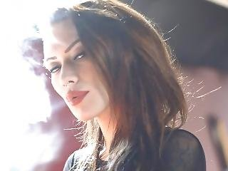 S-m Becky Holt Smoking With Black Transparent Dress