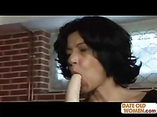 Horny Granny Lick Dildo And Takes Big Cock