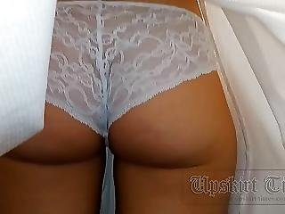 Upskirt Girl With Sweet Butt In White Lace Panties