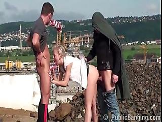 Young Cute Blonde Girl Public Threesome With 2 Guys With Big Dicks