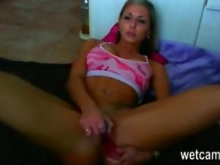 Hot Blonde Chick Cums On Her Kitchen Floor