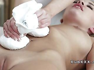 Sexy Blonde Gets Lesbian Pussy Massage