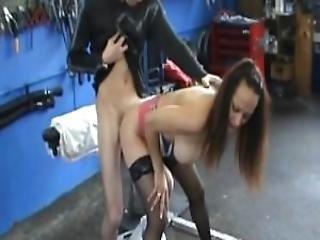 Busty Amateur Teen Girlfriend Fucked In A Garage