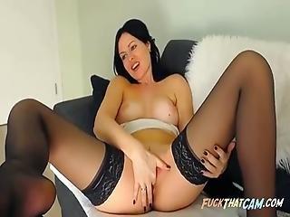 Lovely Dark Haired Beauty Self Pleasuring Display On Webcam