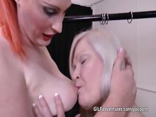 Mother And Step Daughter Dominated By Big Redhead