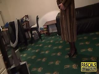Bound And Blindfolded Milf Sub In Lingerie Gets Fingered And Fucked