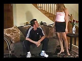 Girl Suck Up To The Man On The Couch