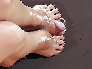 Schoolgirl Oiled Footjob
