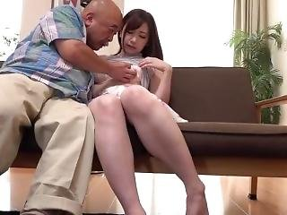 Japanese Cute Manami Oura Cheating With Old Father In Law Husband At Work