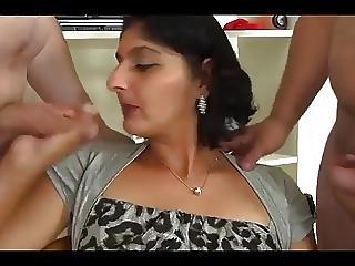 Indian Aunty Sucks Fucks Gets Facials From 2 Bwc