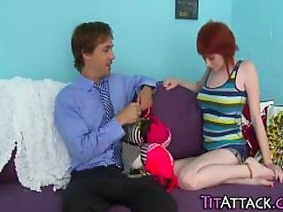 Big Tit Redhead Tugs Cum
