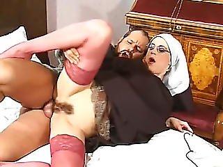 Dirty Nun With Shaved Head And Hairy Twat Cheats On Faith