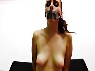 Topless Young Girl With Puffy Nipples Taped At Mouth And Bound