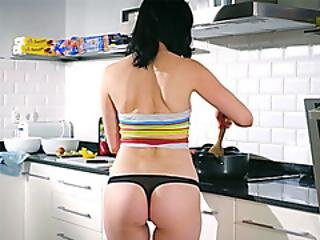 Cooking Teen Strips In The Kitchen When Making Pasta