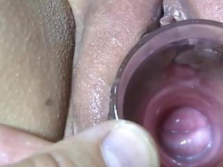 Nicki,s Pussy Gaped With Glass Tube Close Up