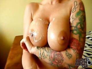 Sensational Titjob With Large Fake Tits