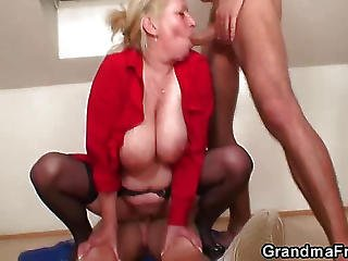 Granny Sucks Whipped Cream Off Cocks