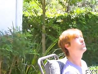 Small Tits Teen Takes A Cock Ride In The Backyard