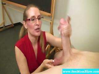 Mature Teacher Sucking On Students Cock