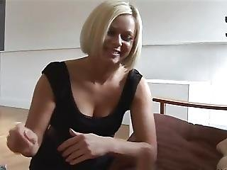 Amazing Blonde Slaps And Strokes A Cock