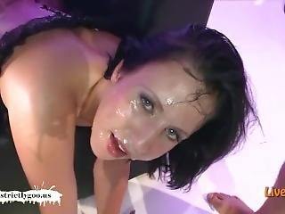 Chubby Baby With A Big-ass Gets Her Cute Face Creamed - German Goo Girls