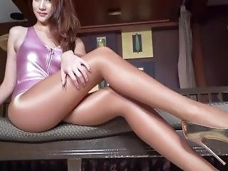 Pink Leotard And Glossy Pantyhose