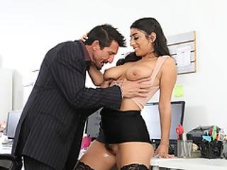 Busty Latina Gives New Boss A Titjob And Gets Fucked On The Table