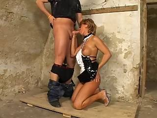Basement Mature Thief Whipped In The Ass