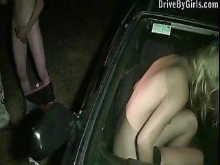Cute Young Teen Blondie Public Sex Gang Bang Orgy Through A Car Window
