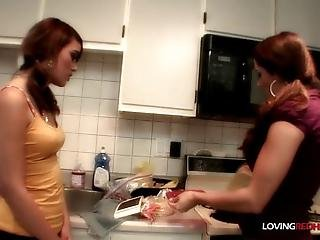Absolute Classy And Hot Lesbian Action In The Kitchen By Babes Chelsea And Eliza