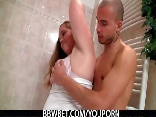 badeværelse, bbw, numse, buttet, fed, kneppe, tynd
