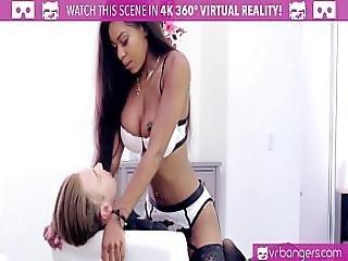 Vrbangers.com Hot Ebony Pole Dancer Nadia Jay Fingered By 2 Buddies