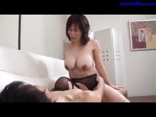 Milf In Pantyhose Fucked By Young Guy Creampie On The Couch