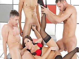 Three Men Horny To Gangbang Adriana