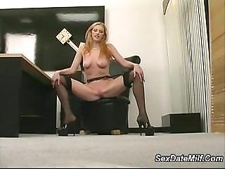 Skinny Sexy Blonde Coworker Strips And Plays With A Guy