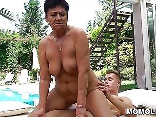 Groot Moeder, Oma, Sperma, Massage, Volwassen, Jong