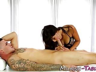 Oiled Masseuse Gets Cum
