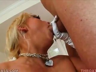 Glove Wearing Blonde Slut Has Her Pretty Face Painted By Jizz Cannon