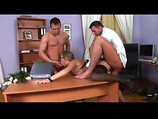 Jessica Moore Office Threesome Black Stockings Sex