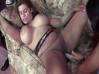 Nice Chubby And Slim Latinas Licking Cunt And Playing With Dildos