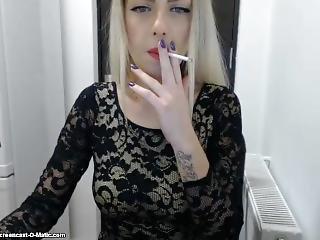 Sexy Blonde Miky Smoking