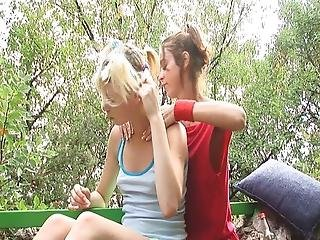 Alice And Natasha In The Park Fondling