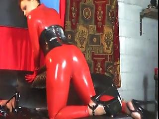 Red Latex Catsuit And Corset