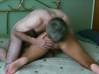 Granny With Big Fake Tits Getting Her Mature Pussy Slammed By A Younger Guy