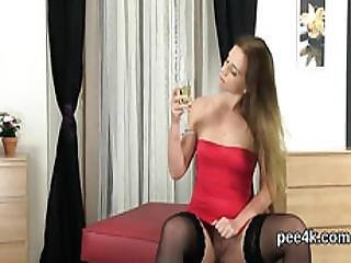 Gorgeous Teen Is Pissing And Fingering Bald Twat
