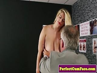 Costumed Party Lady Cumsprayed After Blowjob