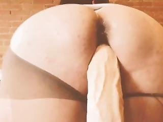 Girlfriend With Nice Ass And Creamy Pussy Cums Hard Fucking Huge Dildo