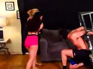 Two Hot Girls Kicking And Kneeing In The Balls