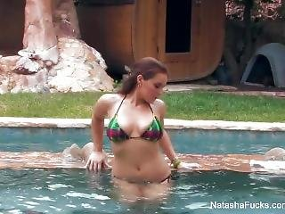 Busty Natasha Nice Has Some Solo Summer Fun By The Pool